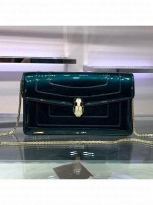 Bvlgari Serpenti Forever Patent Leather Chain Shoulder Bag 25cm Green 2019 Collection