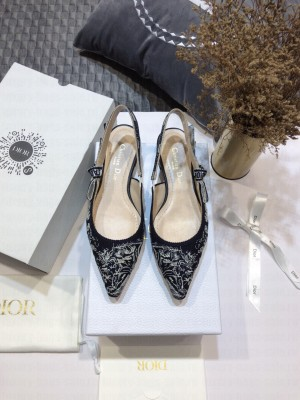 Dior J'Adior Slingback Ballerina Flat in Deep Blue Toile de Jouy Reverse Embroidered Cotton 2021 Collection