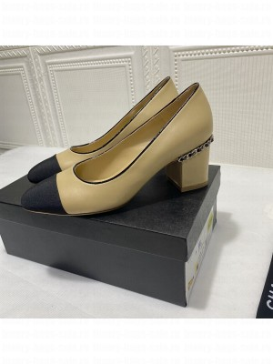 Chanel G37164 Laminated Lambskin Chain Pumps 6cm  Beige 2021 Collection