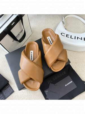 JIL SANDER platform Slippers with cleated rubber sole Brown 2021 Collection