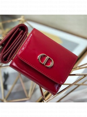 Dior Medium 30 Montaigne Lotus Patent Leather Wallet Red 2019 Collection