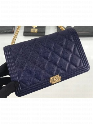 Chanel Caviar Leather Boy Wallet On Chain WOC Bag A81969 Navy Blue 2019