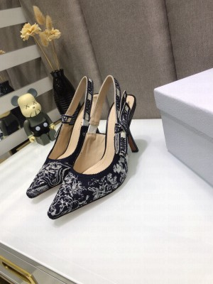 Dior J'Adior Slingback Pumps 9.5cm in Deep Blue Toile de Jouy Reverse Embroidered Cotton 2021 Collection