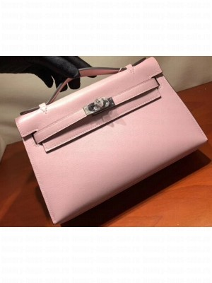 Hermes Kelly 22 Clutch Bag In Original Swift Leather Cherry Pink