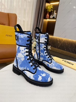 Fendi Skyblue canvas biker boots 2021 Collection