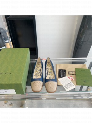 Gucci ballet flat with Interlocking G Blue leather with Beige tip 2021 Collection