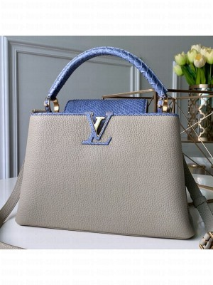 Louis Vuitton Capucines MM with Snakeskin Top Handle Bag Light Grey/Blue 2019 Collection