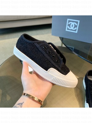 Chanel Cotton Tweed Platform Open Sneakers Black 2021 Collection