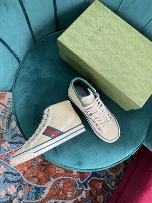 Gucci Unisex Tennis 1977 GG Multicolor high-top Beige Sneaker 2021 Collection