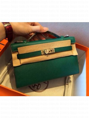 HERMES KELLY 22 EPSOM LEATHER CLUTCH BAG IN green