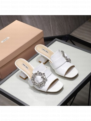 MIU MIU patent leather Buckle with synthetic crystals 65 mm heel Mules White