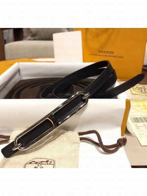 Hermes Width 1.3cm Swift & Epsom Leather Reversible Belt With Long Buckle Black 2020 Collection