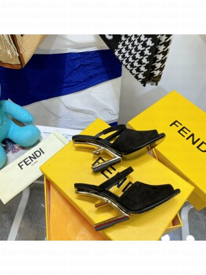 FENDI FIRST Black Suede high-heeled sandals 2021 Collection