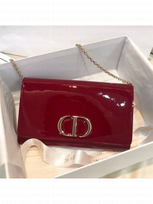 Dior 30 Montaigne CD Patent Calfskin Wallet on Chain WOC Cherry Red 2019 Collection