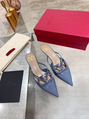 VALENTINO VLOGO SIGNATURE PATENT LEATHER MULE SANDALS 40MM BLUE 2021 Collection