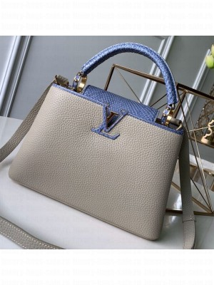 Louis Vuitton Capucines BB with Snakeskin Top Handle Bag Light Grey/Blue 2019 Collection