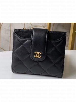 Chanel Small Wallet with Card Holder A31567 Lambskin Black