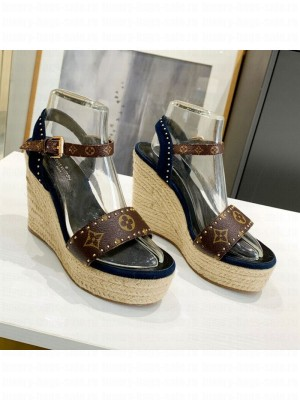 Louis Vuitton Coastline Wedge Sandal in Studded Canvas and Suede 2021 Collection