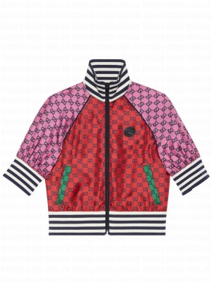 Gucci Women's GG Multicolor Collection Short Sleeve Jacket Red