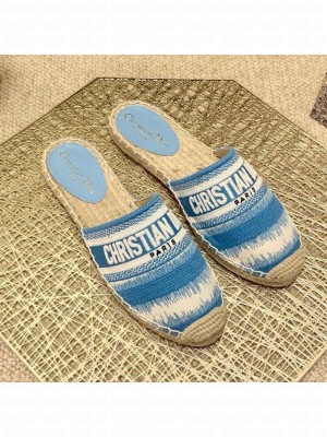 Dior Granville Espadrille Mules in Ocean Blue D-Stripes Embroidered Cotton Spring/Summer 2021 Collection