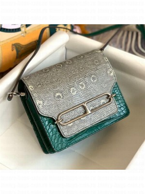 Hermes Sac Roulis 18cm Bag in Lizard and Crocodile Embossed Calf Leather Green 2019 (Half Handmade) Collection