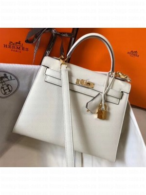 Hermes Kelly 25cm Top Handle Bag in Epsom Leather Off-White 2020 Collection