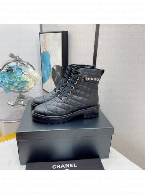 Chanel Women's Combat Boots Black 04 2021 Collection