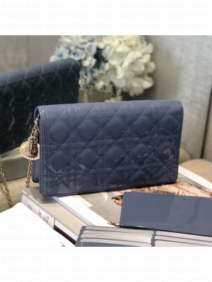 Dior Cannage Patent Leather Chain Wallet WOC Blue 2019 Collection