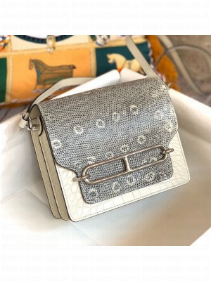 Hermes Sac Roulis 18cm Bag in Lizard and Crocodile Embossed Calf Leather White 2019 (Half Handmade) Collection