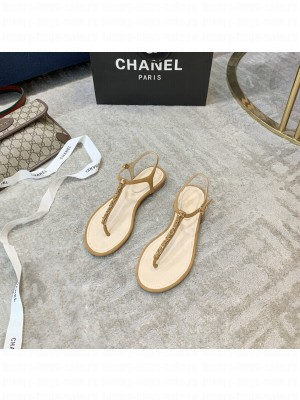 Chanel Suede Thong Slide Sandal Brown 2021 Collection