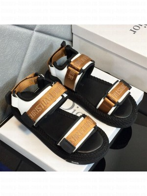 Dior D-Wander Fabric Flat Strap Sandals Gold Spring/Summer 2021 Collection 06