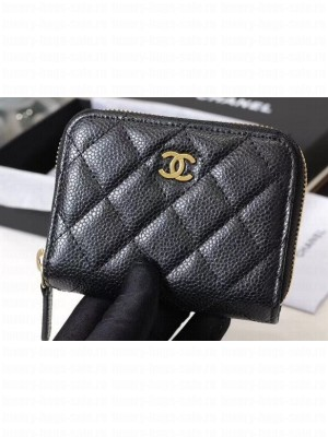Chanel Classic Small Zipped Card Holder 60086 Grained Calfskin Black/Gold