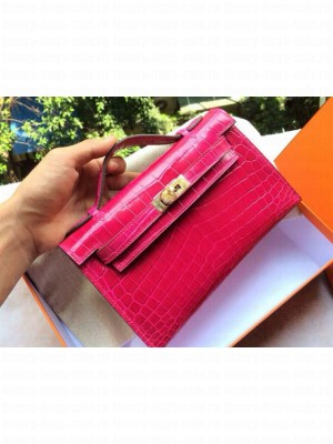 Hermes mini kelly bag in red crocodile leather with GHW