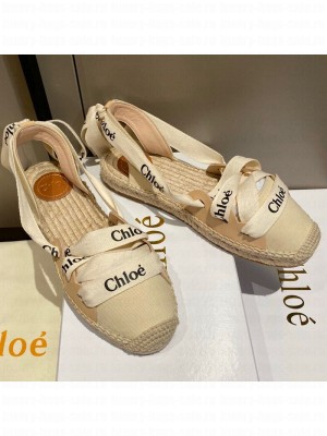 Chloe Logo Canvas Lace Up Espadrilles White Spring/Summer 2021 Collection