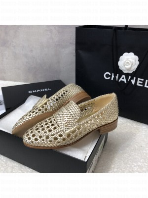 Chanel G37403 Shiny Braided Goatskin Gold Loafers 2021 Collection