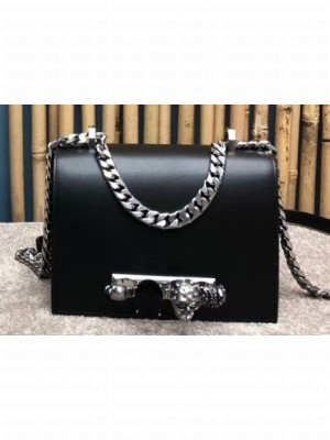 Alexander Mcqueen Small Jewelled Satchel Bag Smooth Calf Leather Black/Silver
