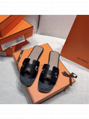 Hermes Oran Flat slippers with Ostrich Leather 090 2021 Collection