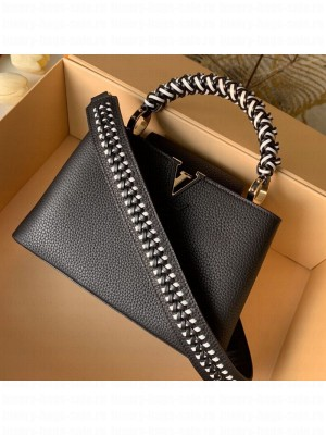 Louis Vuitton Capucines BB with Braided Handle M55236 Black/White 2019 Collection