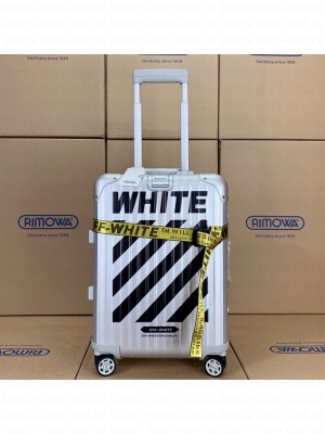 Off-White x Rimowa Striped Luggage Travel Bag Silver 20/26/30 inches 2019 Collection