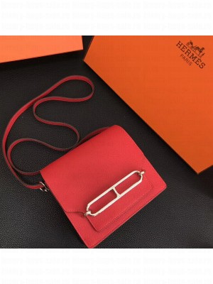 Hermes Sac Roulis Togo Leather Bag Red 2019 Collection