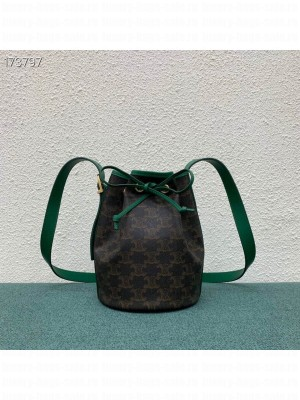 Celine Small Bucket Bag Triomphe Canvas/Calfskin Leather, Green