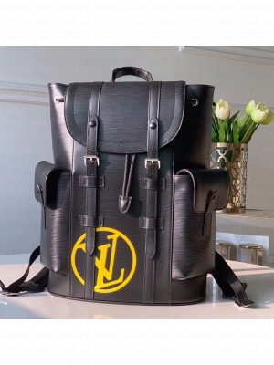 Louis Vuitton Men's Christopher Epi Leather Backpack PM M55138 Black/Yellow 2019 Collection
