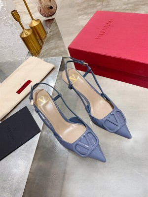 VALENTINO VLOGO SIGNATURE PATENT LEATHER SLINGBACK PUMP 70MM BLUE 2021 Collection