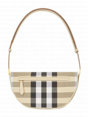 Burberry Small Check Canvas and Leather Olympia Bag Cream
