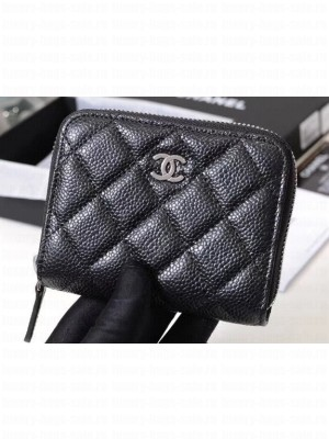 Chanel Classic Small Zipped Card Holder 60086 Grained Calfskin Black/Silver