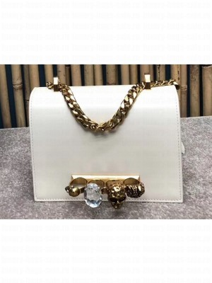 Alexander Mcqueen Small Jewelled Satchel Bag Smooth Calf Leather White