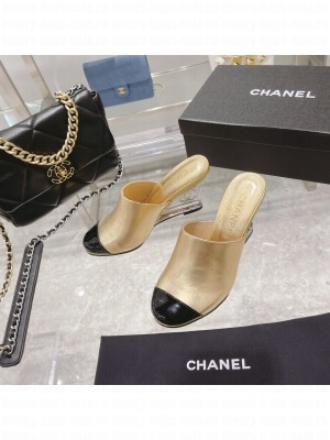 Chanel Women's Crystal heel Wedge Mule Gold 2021 Collection