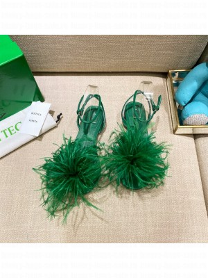 Bottega Veneta FEATHER DOT Leather and ostrich feather flat sandals Grass Green 2021 Collection