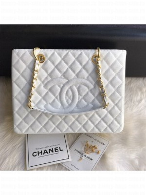 Chanel Grained Calfskin Grand Shopping Tote GST Bag White/Gold Collection