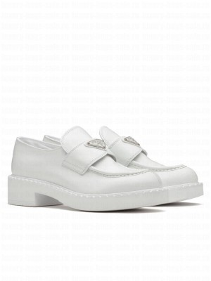 Prada Women's Monolith Brushed Leather Pointed Loafers White